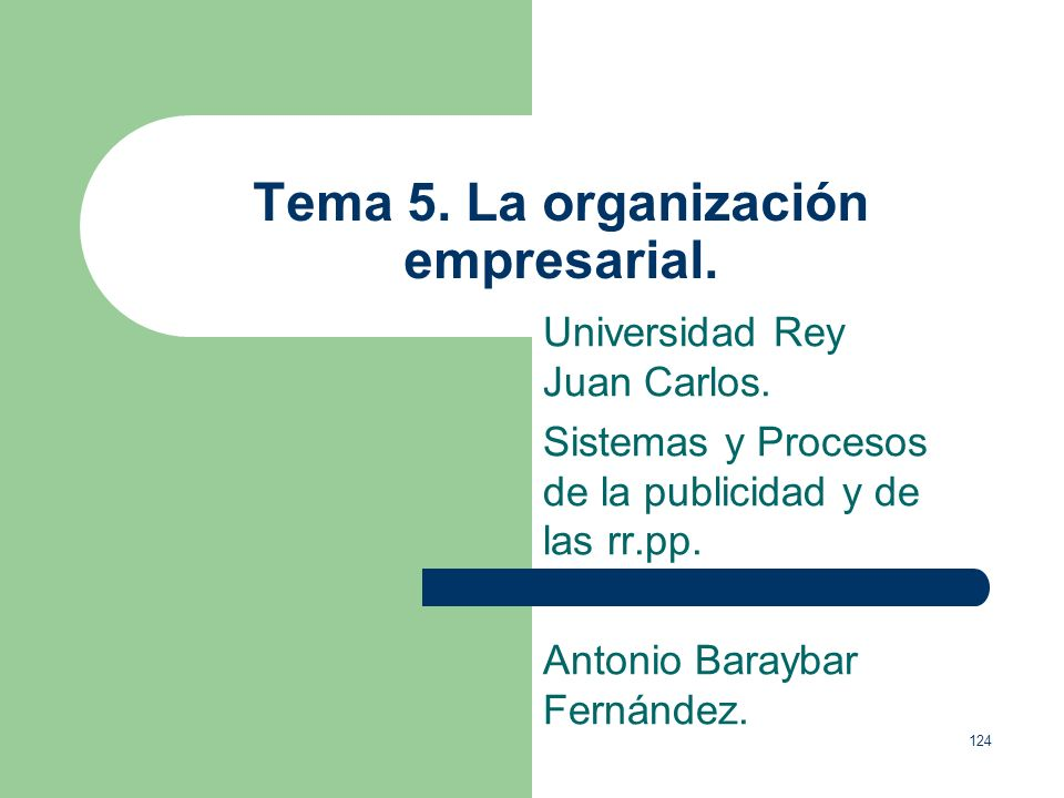 Tema 5. La organización empresarial.
