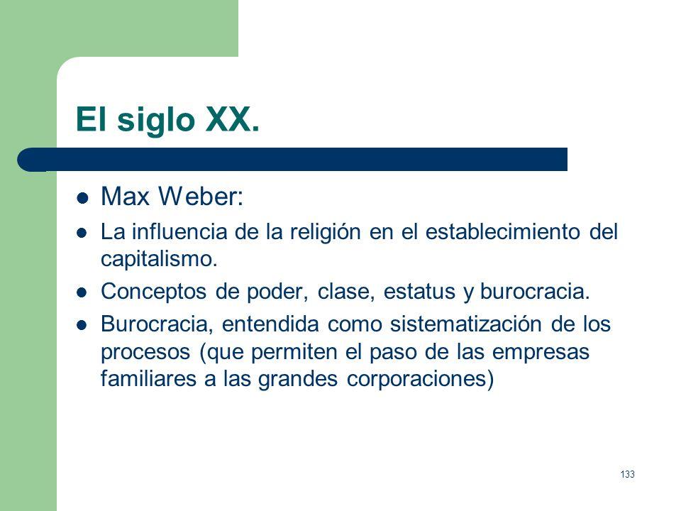 El siglo XX. Max Weber: La influencia de la religión en el establecimiento del capitalismo. Conceptos de poder, clase, estatus y burocracia.
