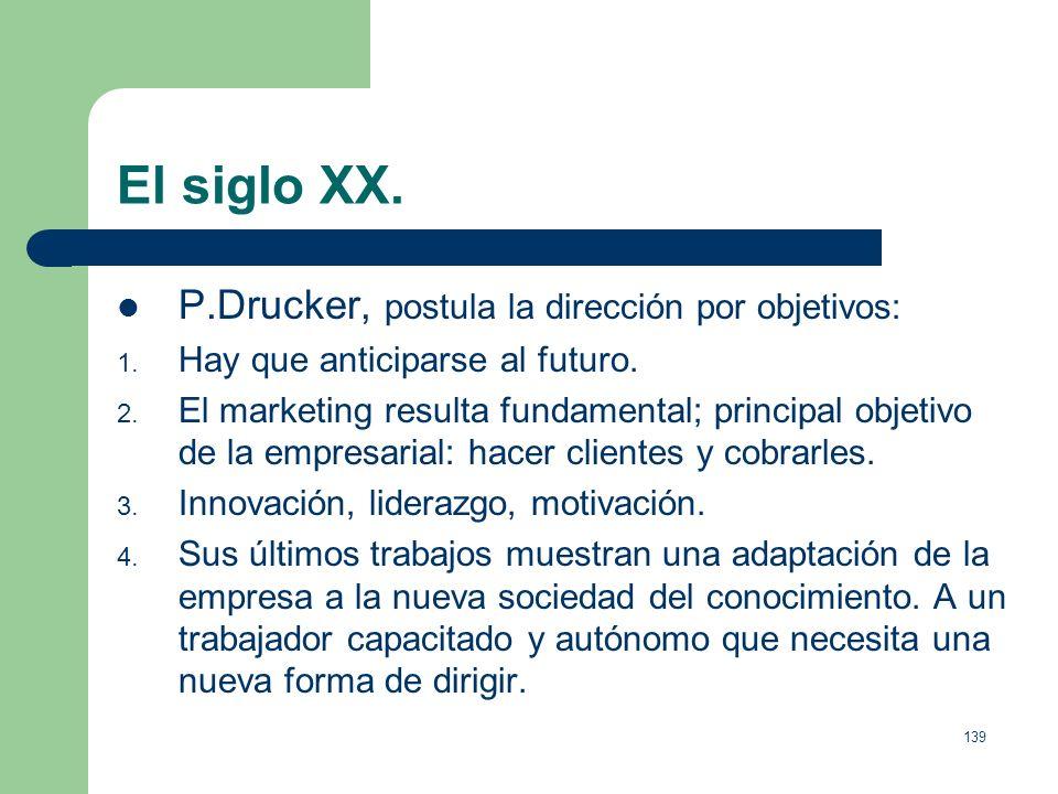 El siglo XX. P.Drucker, postula la dirección por objetivos: