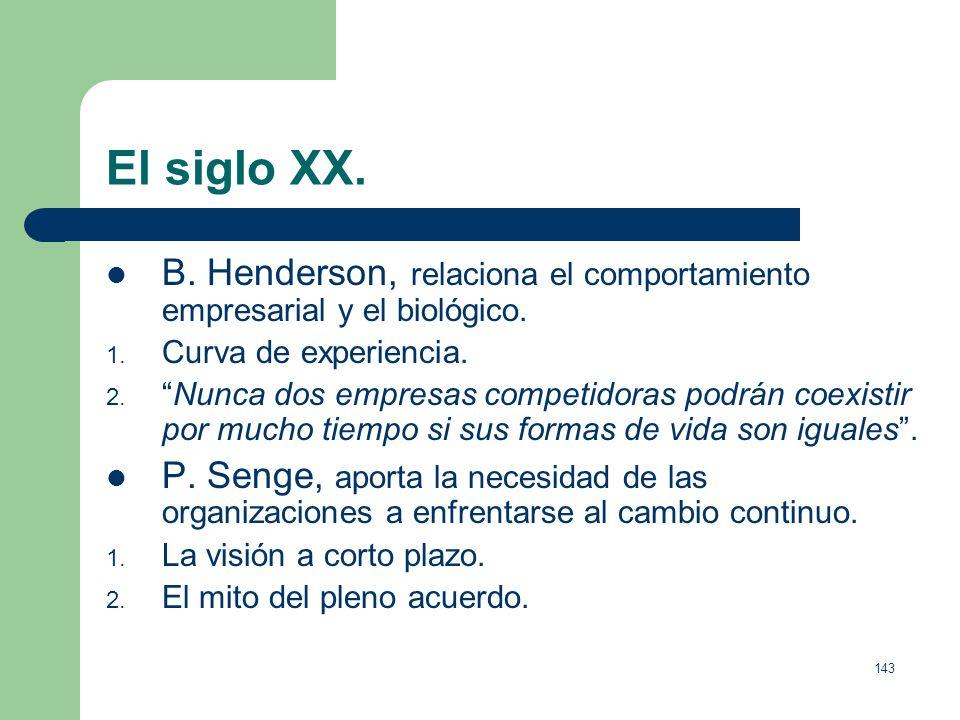 El siglo XX. B. Henderson, relaciona el comportamiento empresarial y el biológico. Curva de experiencia.