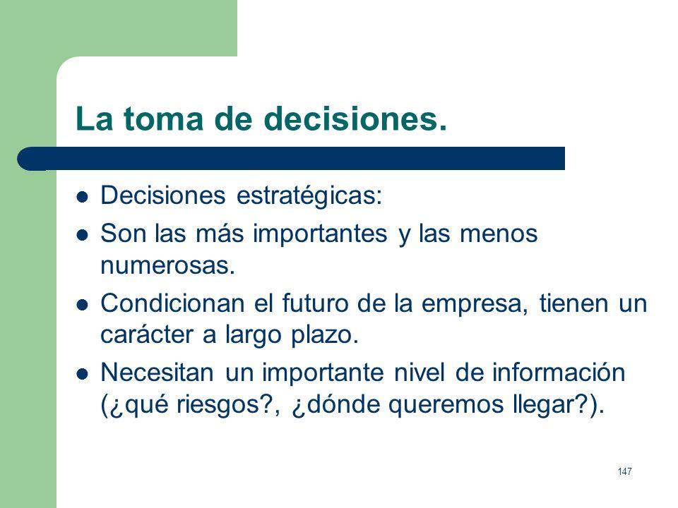 La toma de decisiones. Decisiones estratégicas: