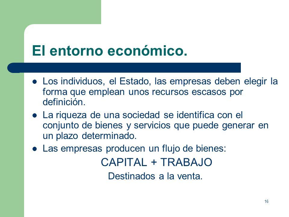 El entorno económico.Los individuos, el Estado, las empresas deben elegir la forma que emplean unos recursos escasos por definición.