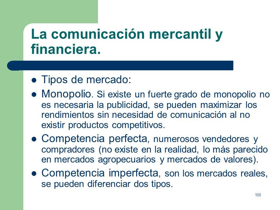 La comunicación mercantil y financiera.