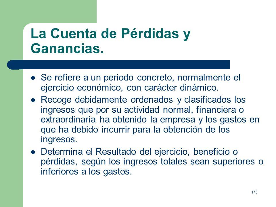 La Cuenta de Pérdidas y Ganancias.
