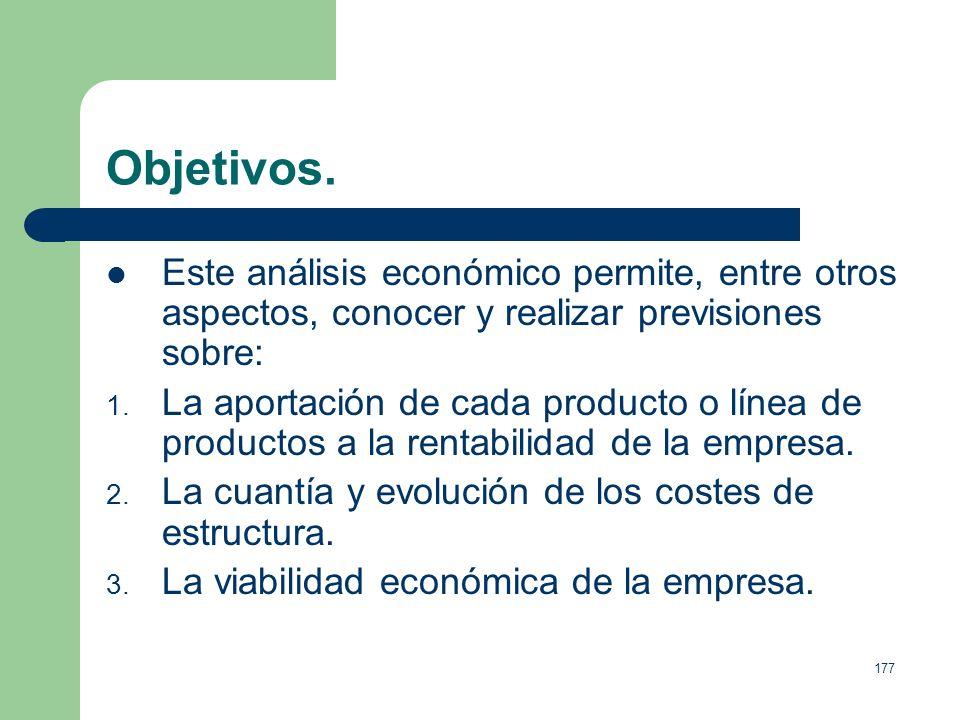 Objetivos.Este análisis económico permite, entre otros aspectos, conocer y realizar previsiones sobre:
