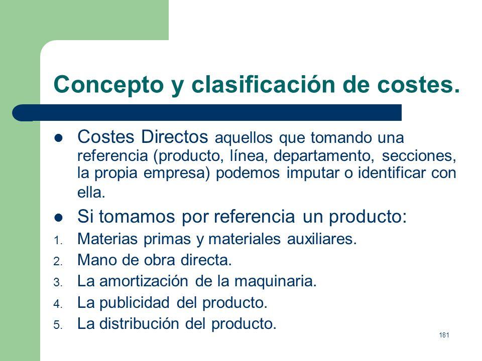 Concepto y clasificación de costes.