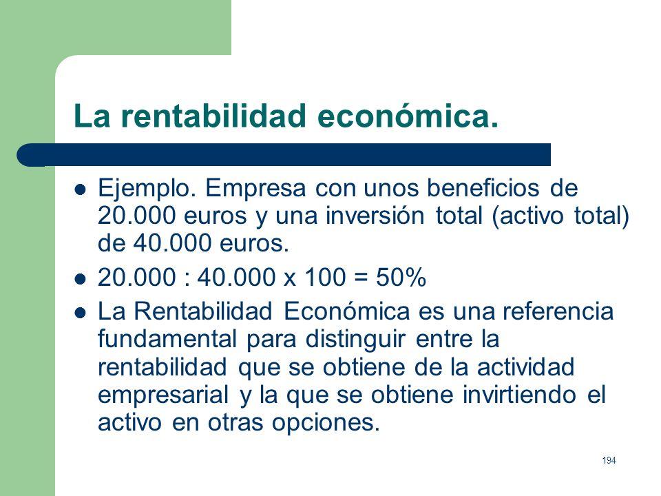 La rentabilidad económica.
