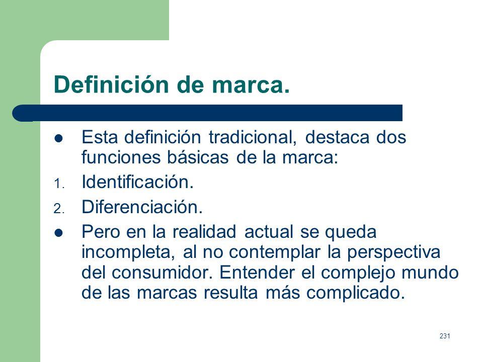 Definición de marca. Esta definición tradicional, destaca dos funciones básicas de la marca: Identificación.