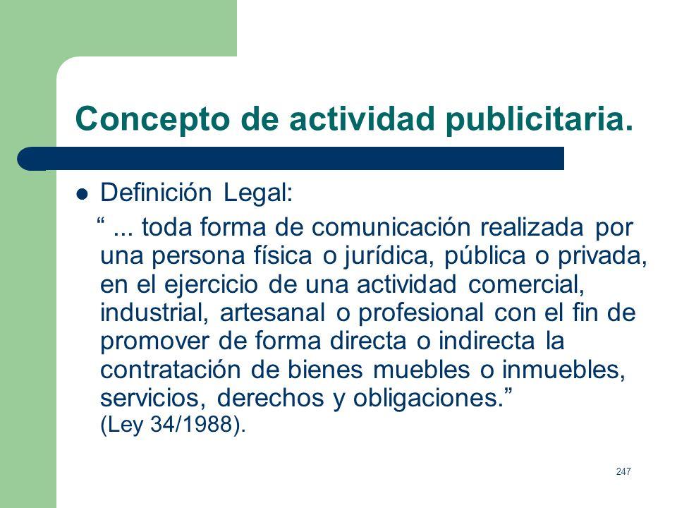 Concepto de actividad publicitaria.