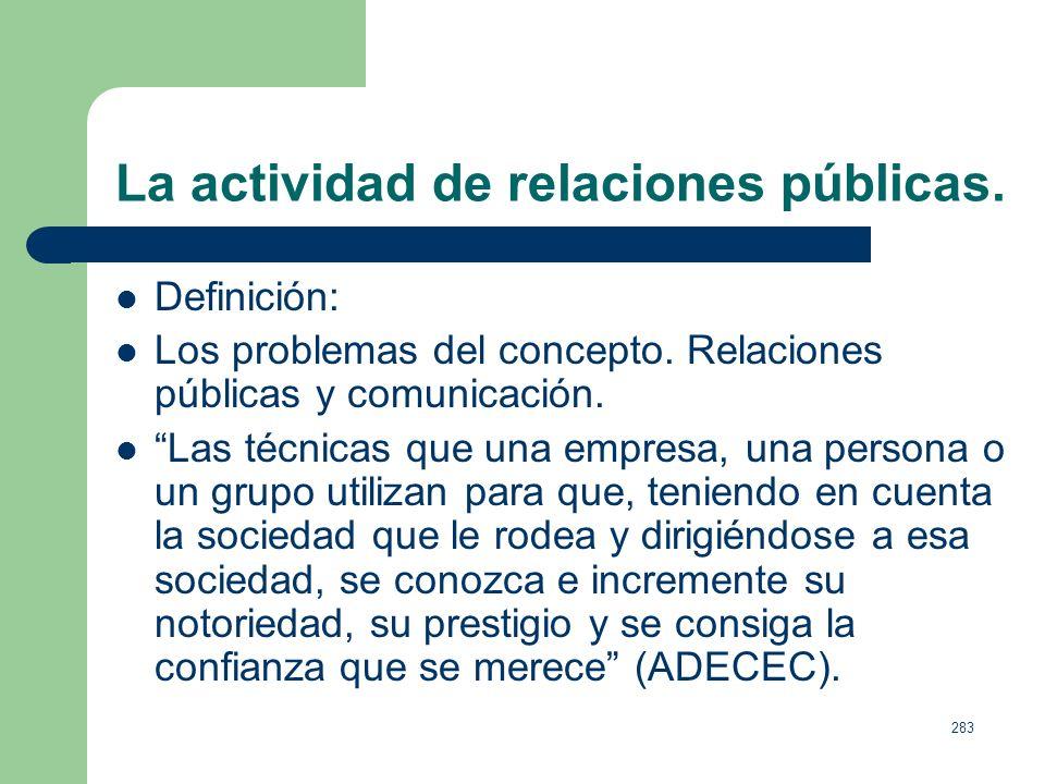 La actividad de relaciones públicas.