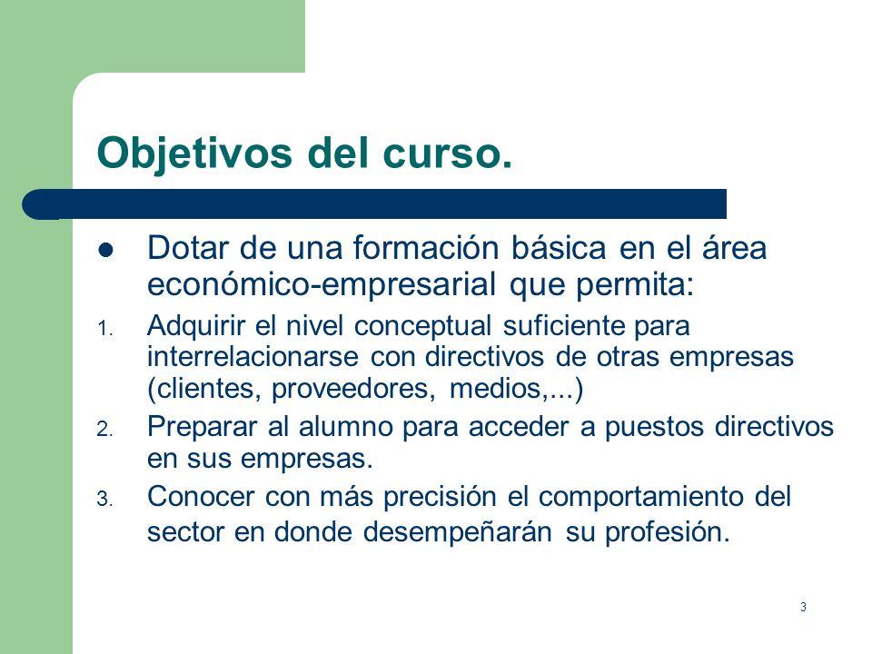 Objetivos del curso.Dotar de una formación básica en el área económico-empresarial que permita: