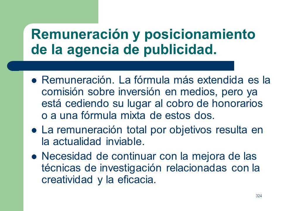 Remuneración y posicionamiento de la agencia de publicidad.