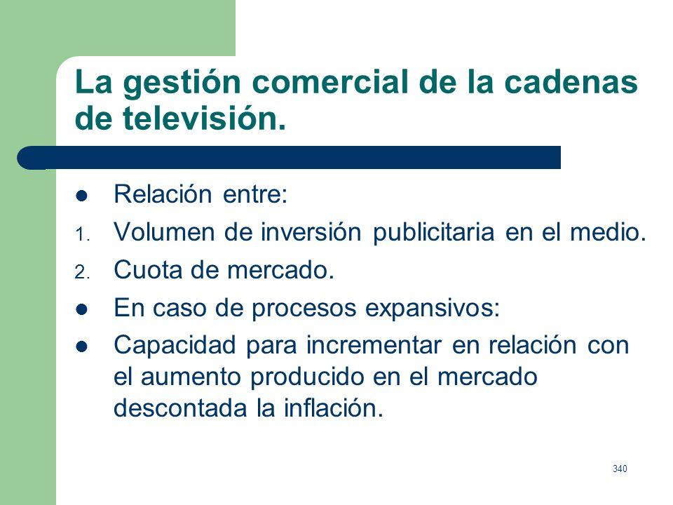La gestión comercial de la cadenas de televisión.