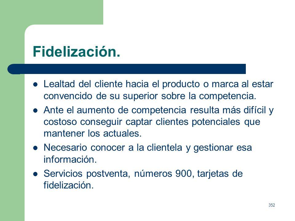 Fidelización.Lealtad del cliente hacia el producto o marca al estar convencido de su superior sobre la competencia.