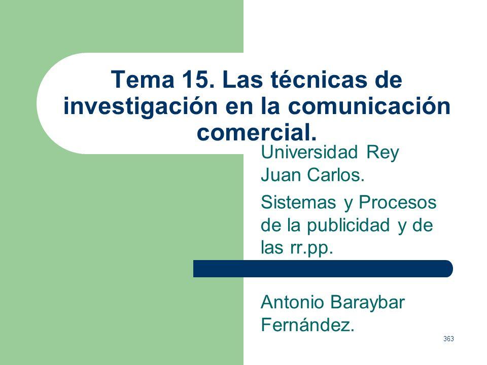 Tema 15. Las técnicas de investigación en la comunicación comercial.
