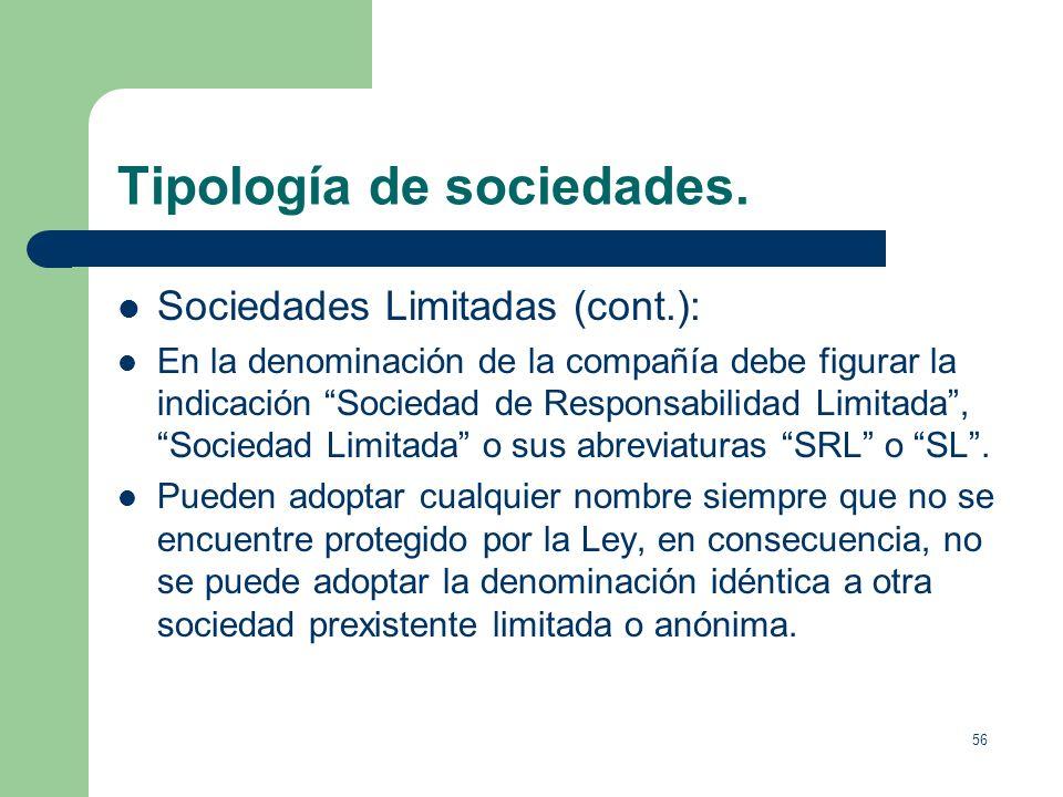 Tipología de sociedades.