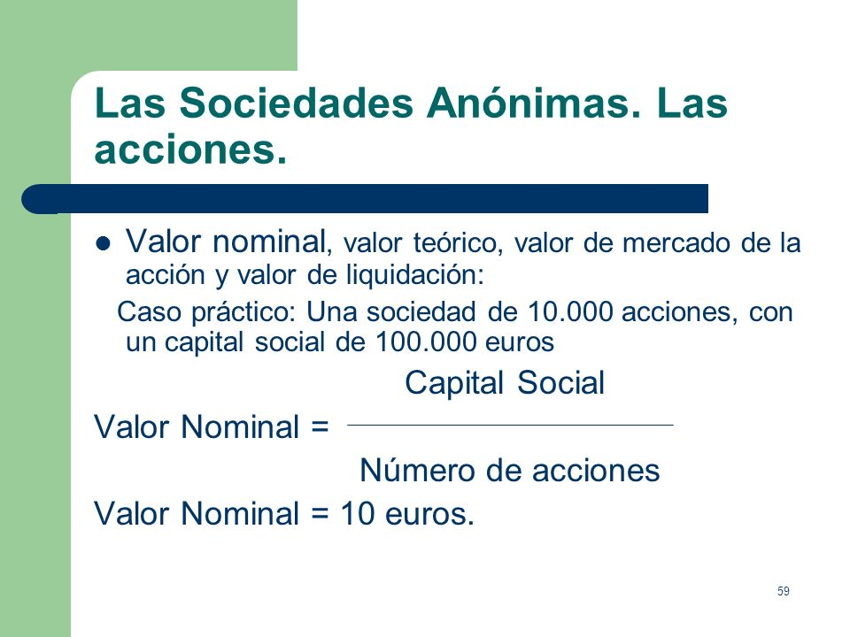 Las Sociedades Anónimas. Las acciones.