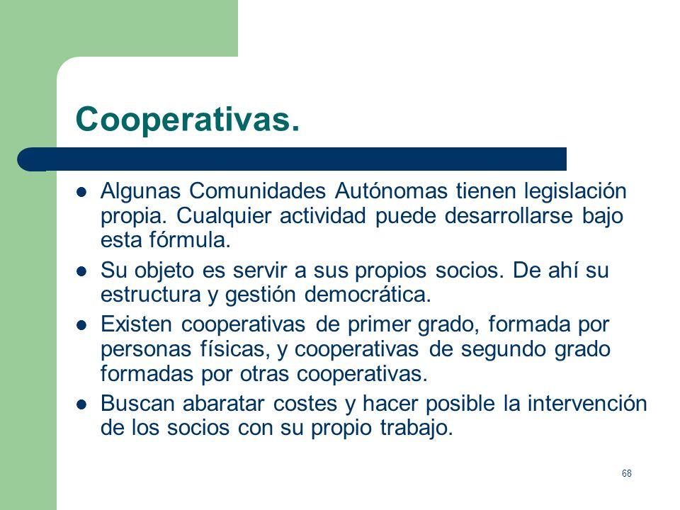 Cooperativas.Algunas Comunidades Autónomas tienen legislación propia. Cualquier actividad puede desarrollarse bajo esta fórmula.