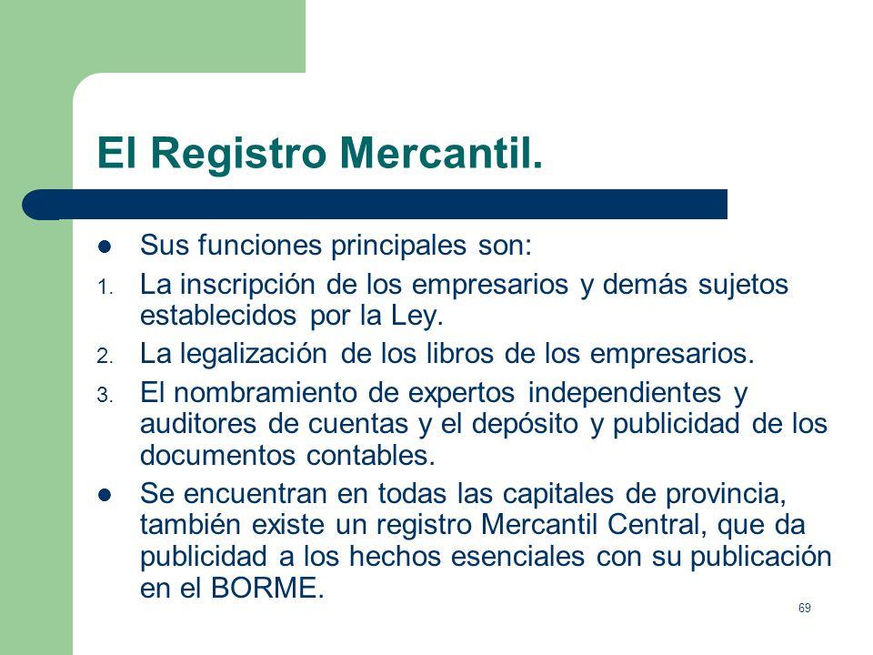 El Registro Mercantil. Sus funciones principales son: