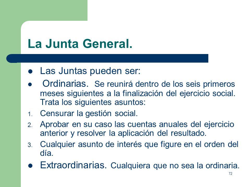 La Junta General. Las Juntas pueden ser: