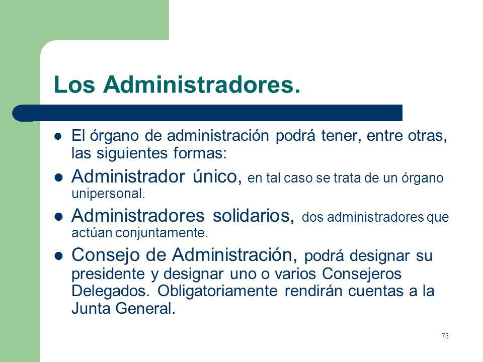 Los Administradores. El órgano de administración podrá tener, entre otras, las siguientes formas: