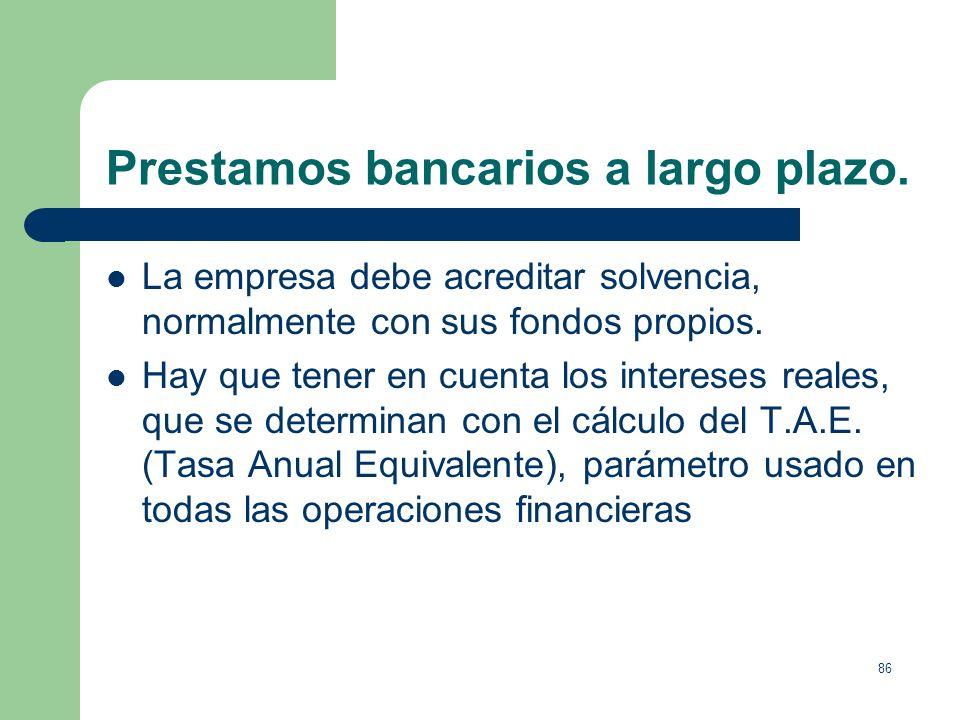 Prestamos bancarios a largo plazo.