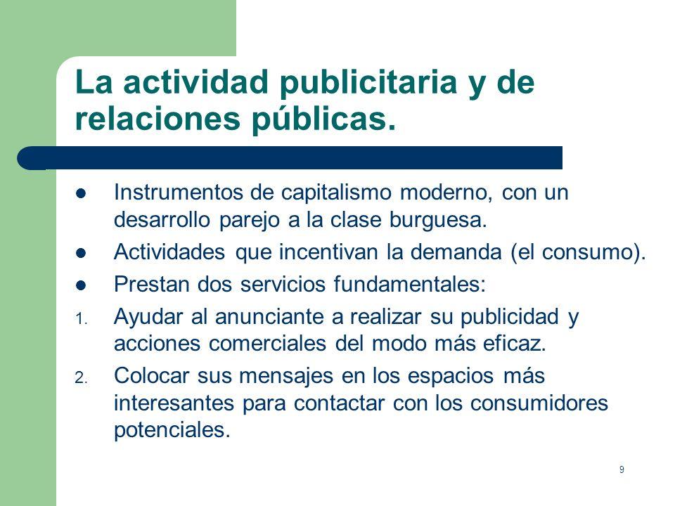 La actividad publicitaria y de relaciones públicas.