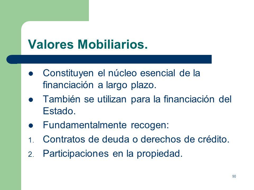 Valores Mobiliarios.Constituyen el núcleo esencial de la financiación a largo plazo. También se utilizan para la financiación del Estado.