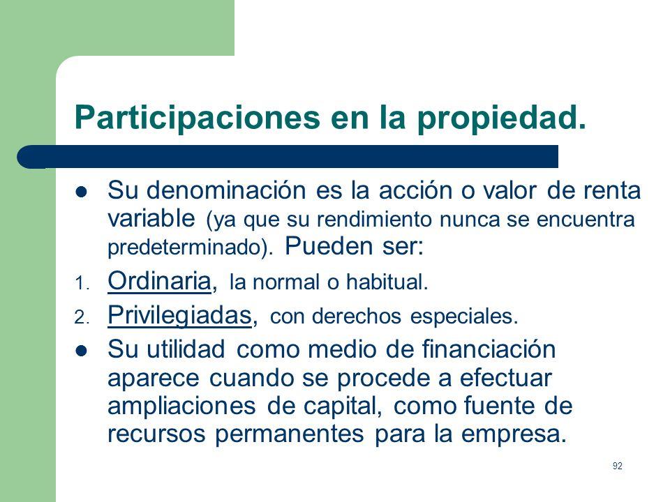 Participaciones en la propiedad.