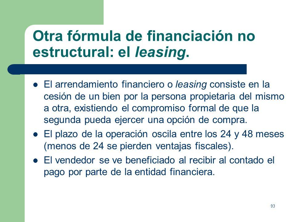Otra fórmula de financiación no estructural: el leasing.