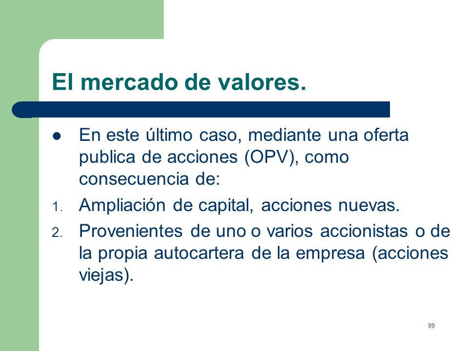 El mercado de valores.En este último caso, mediante una oferta publica de acciones (OPV), como consecuencia de: