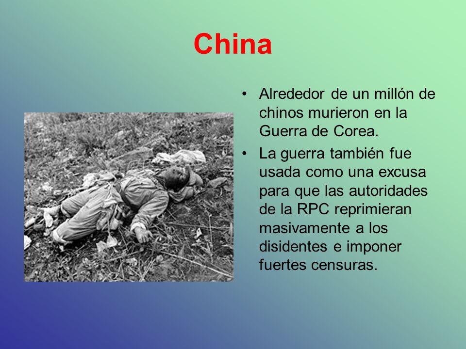 China Alrededor de un millón de chinos murieron en la Guerra de Corea.