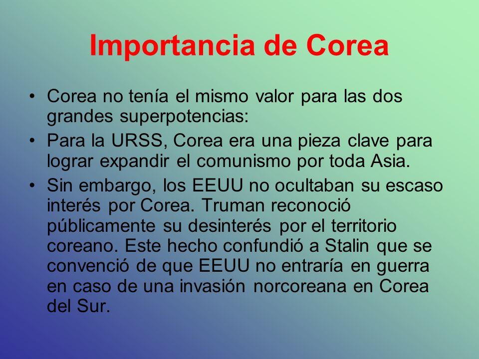 Importancia de Corea Corea no tenía el mismo valor para las dos grandes superpotencias: