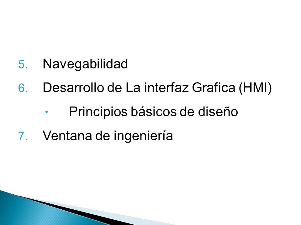 Navegabilidad Desarrollo de La interfaz Grafica (HMI) Principios básicos de diseño.