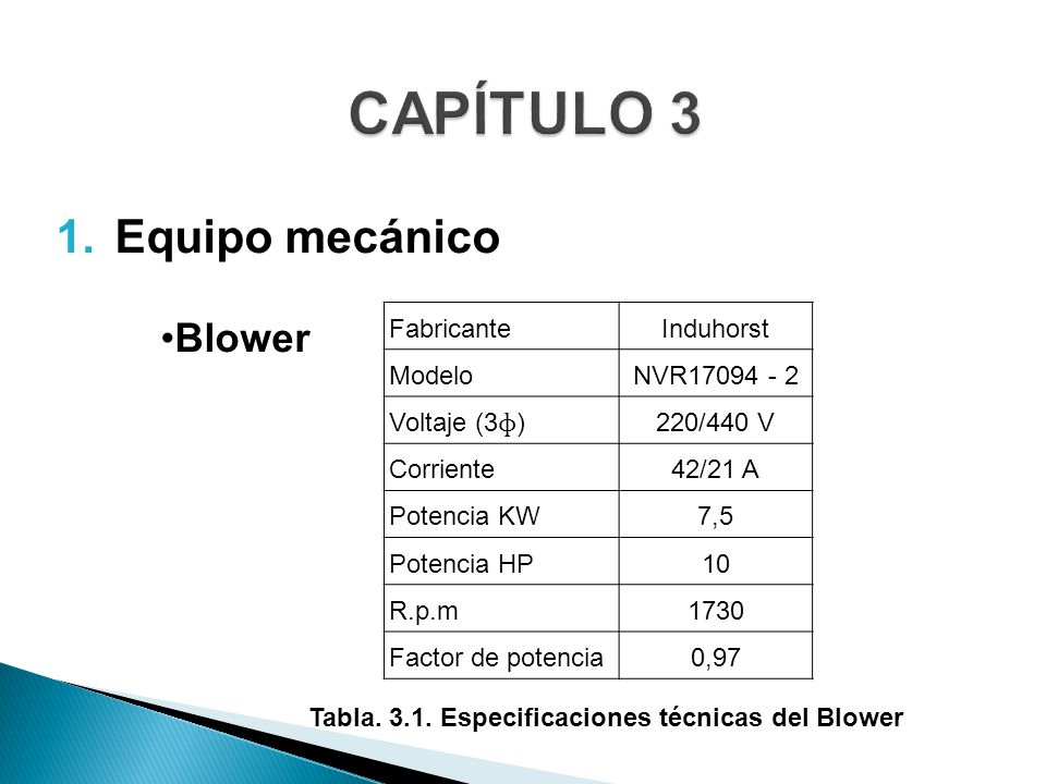 Tabla. 3.1. Especificaciones técnicas del Blower