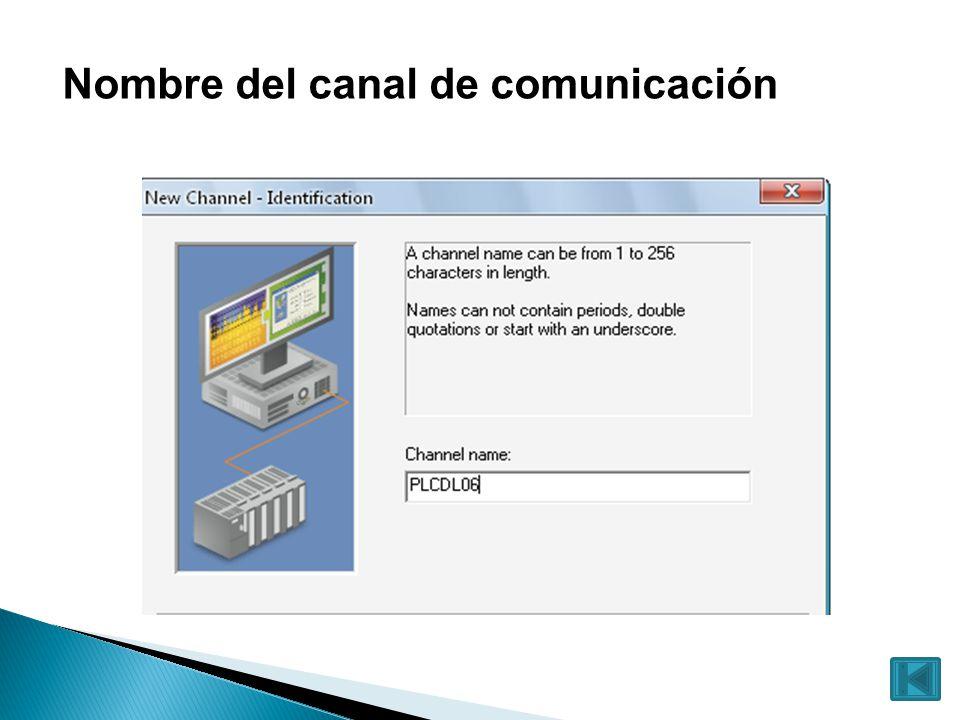 Nombre del canal de comunicación