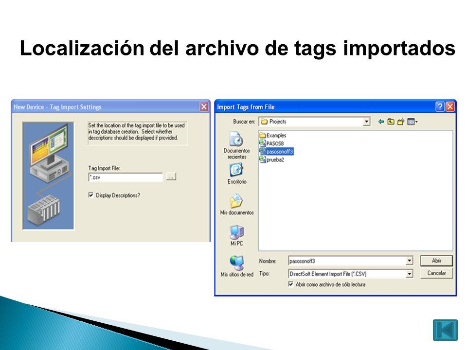 Localización del archivo de tags importados