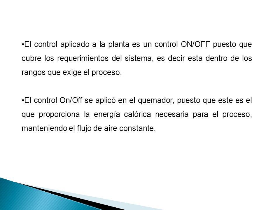 El control aplicado a la planta es un control ON/OFF puesto que cubre los requerimientos del sistema, es decir esta dentro de los rangos que exige el proceso.