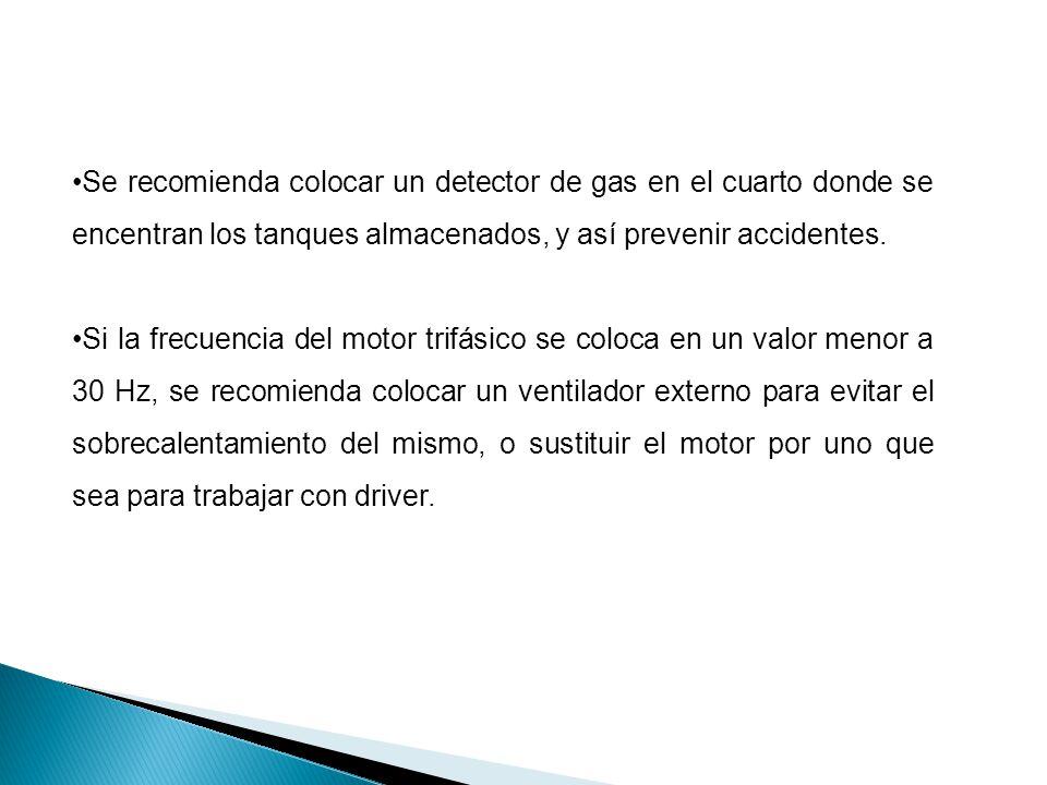 Se recomienda colocar un detector de gas en el cuarto donde se encentran los tanques almacenados, y así prevenir accidentes.