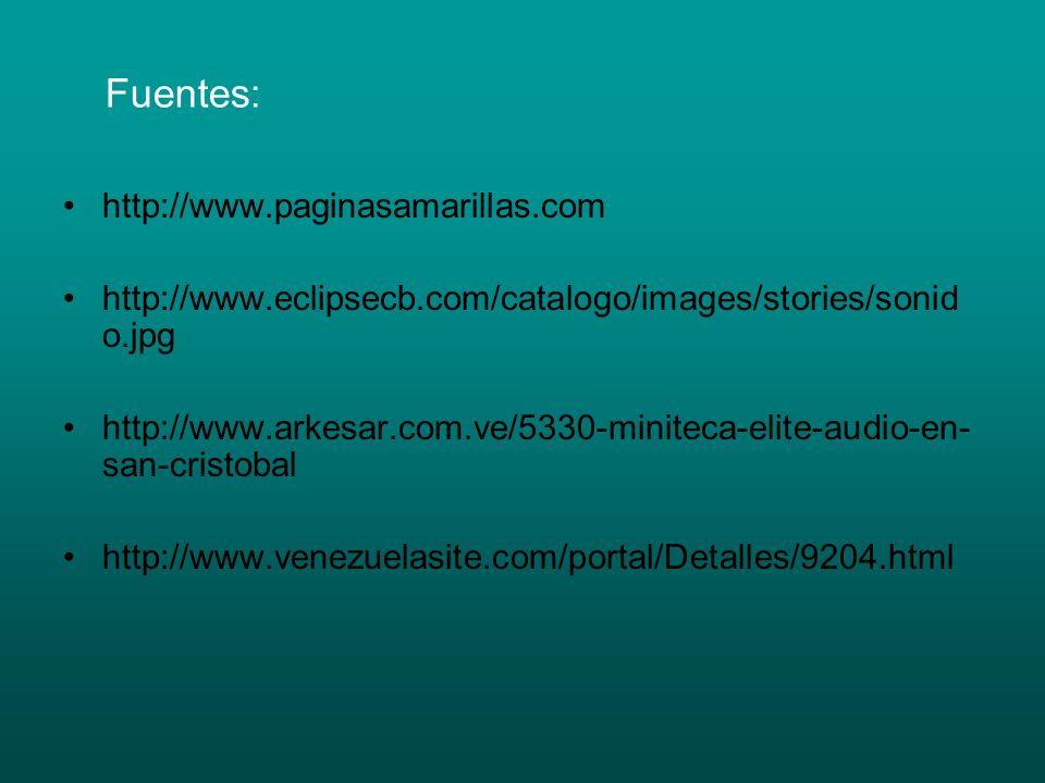 Fuentes: http://www.paginasamarillas.com