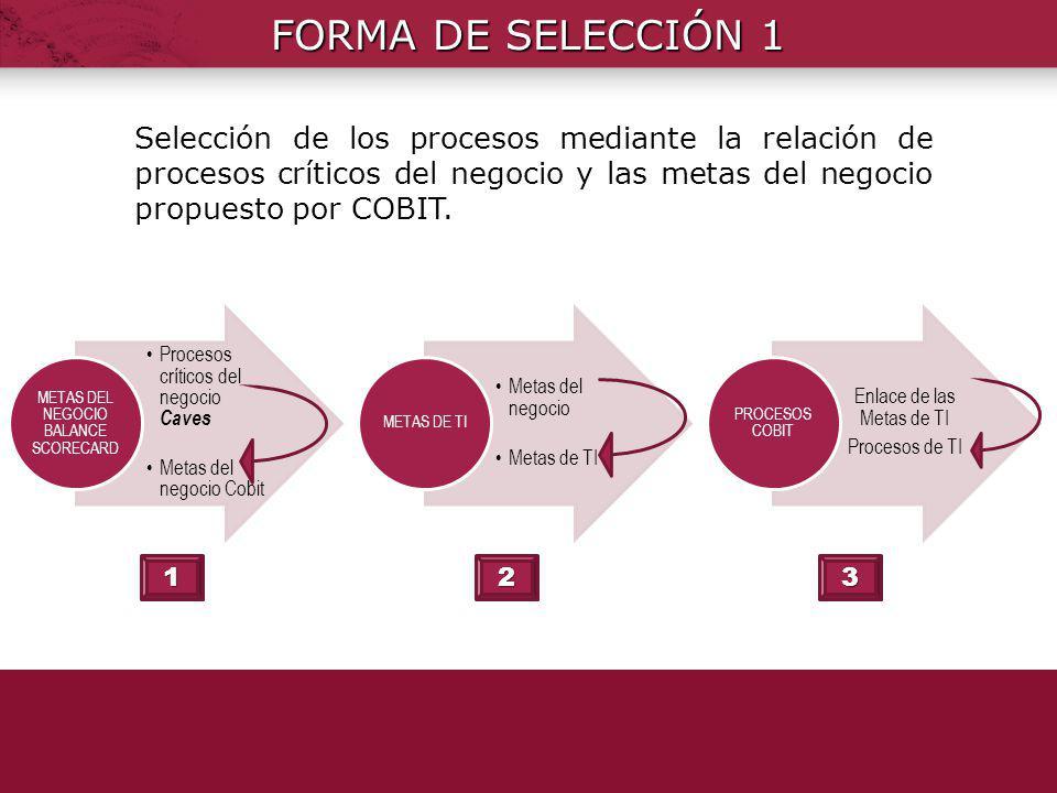 FORMA DE SELECCIÓN 1 Procesos críticos del negocio Caves. Metas del negocio Cobit. METAS DEL NEGOCIO BALANCE SCORECARD.