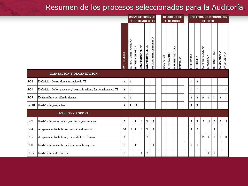 Resumen de los procesos seleccionados para la Auditoría.