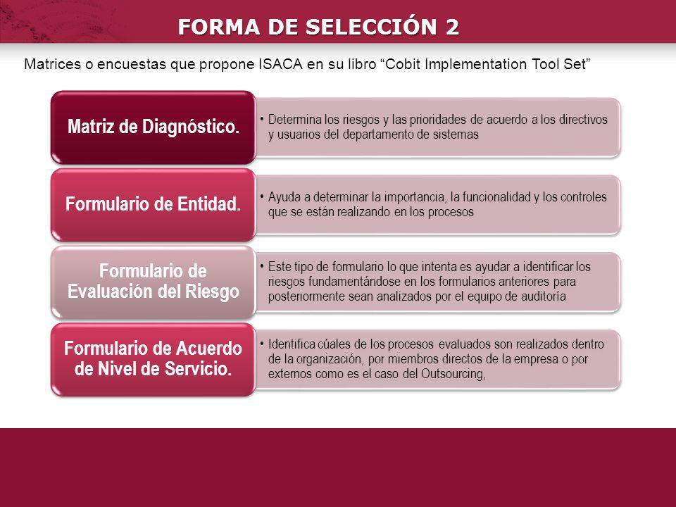 FORMA DE SELECCIÓN 2 Matrices o encuestas que propone ISACA en su libro Cobit Implementation Tool Set