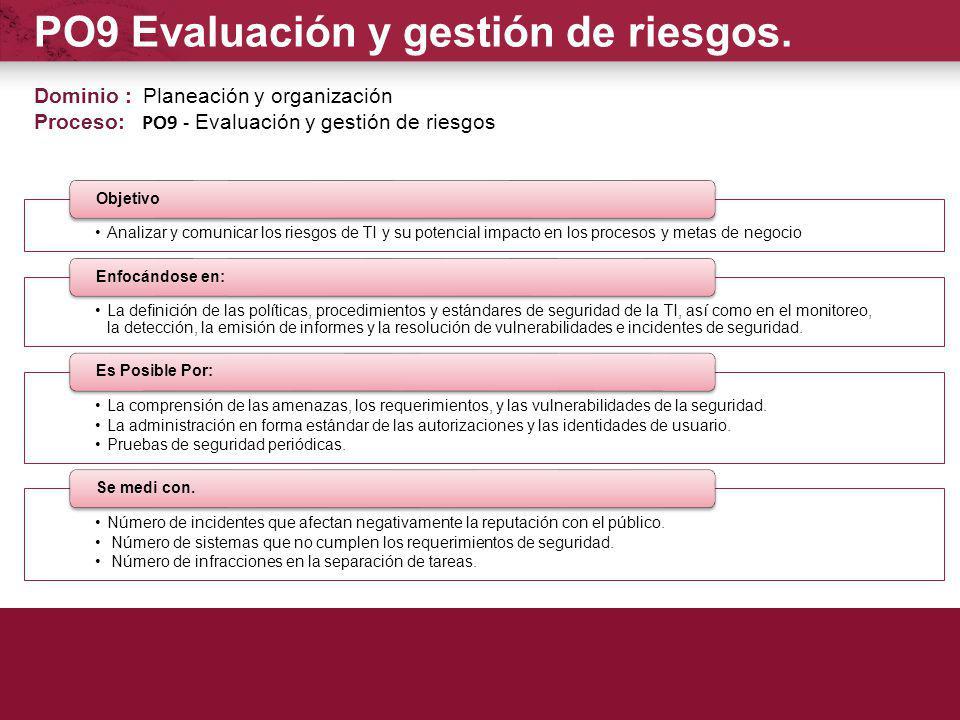 PO9 Evaluación y gestión de riesgos.