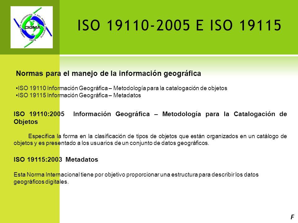 ISO 19110-2005 E ISO 19115 Normas para el manejo de la información geográfica.