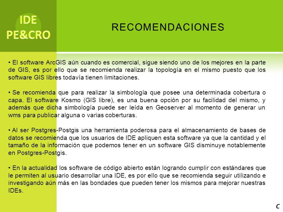 IDE PE&CRO recomendaciones C