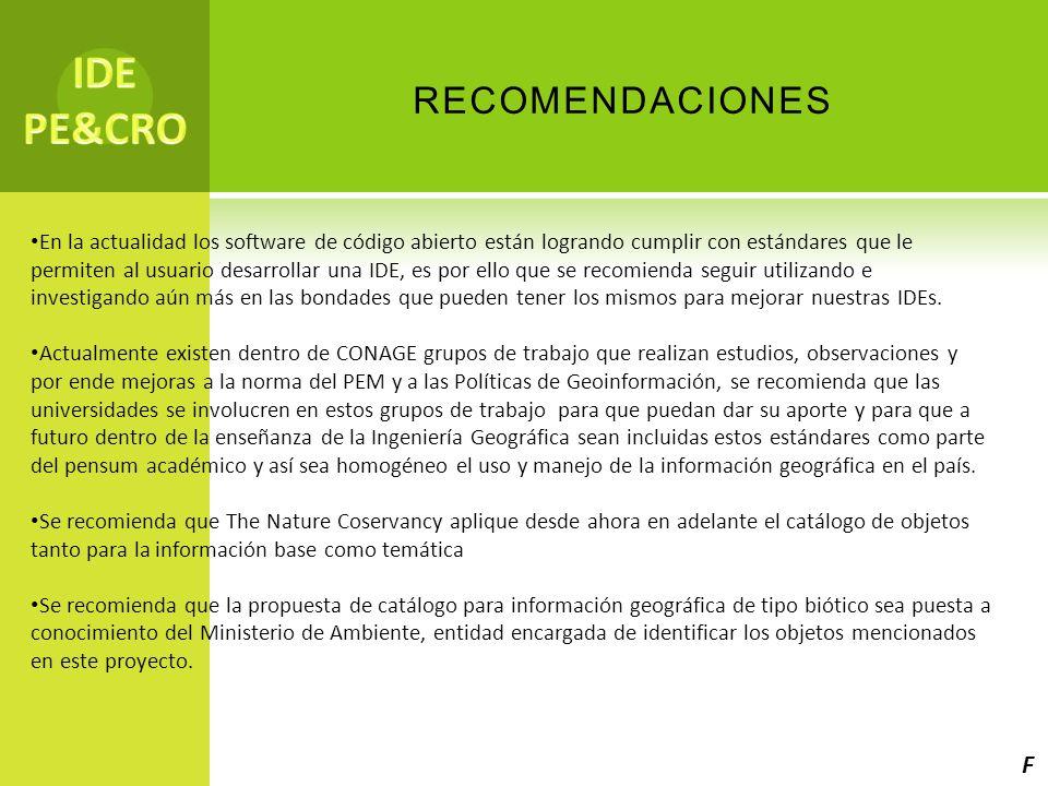 IDE PE&CRO recomendaciones F