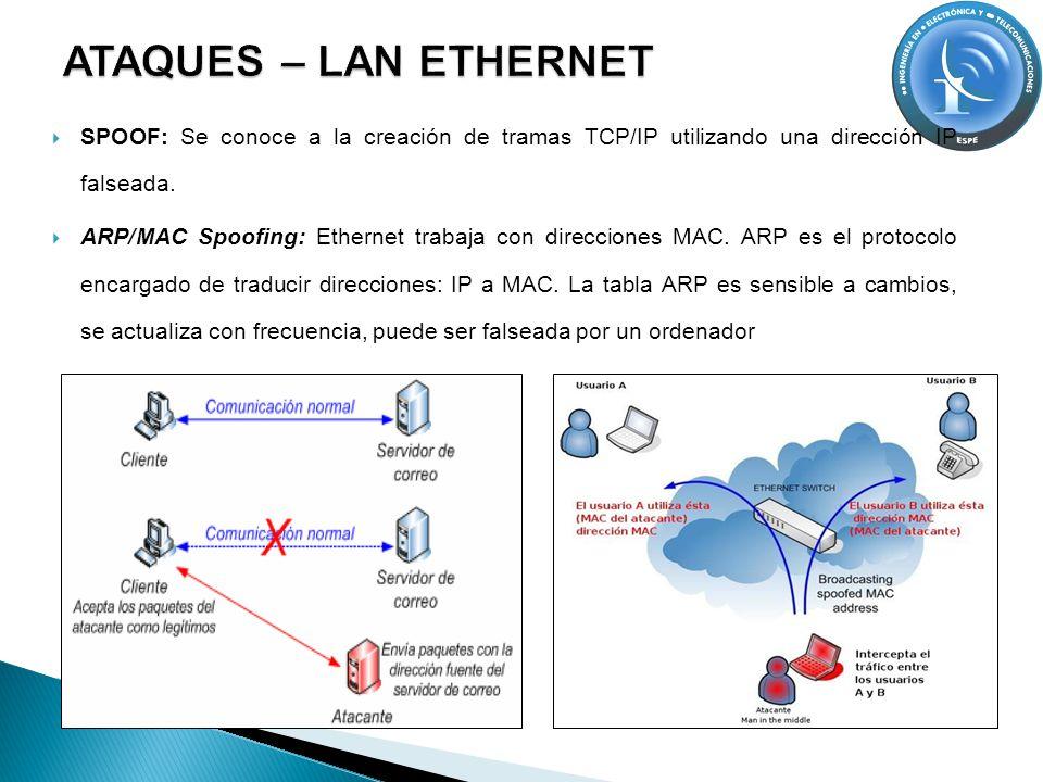 ATAQUES – LAN ETHERNET SPOOF: Se conoce a la creación de tramas TCP/IP utilizando una dirección IP falseada.