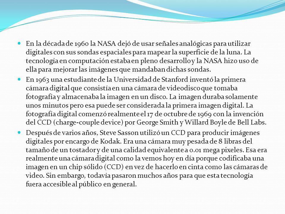 En la década de 1960 la NASA dejó de usar señales analógicas para utilizar digitales con sus sondas espaciales para mapear la superficie de la luna. La tecnología en computación estaba en pleno desarrollo y la NASA hizo uso de ella para mejorar las imágenes que mandaban dichas sondas.