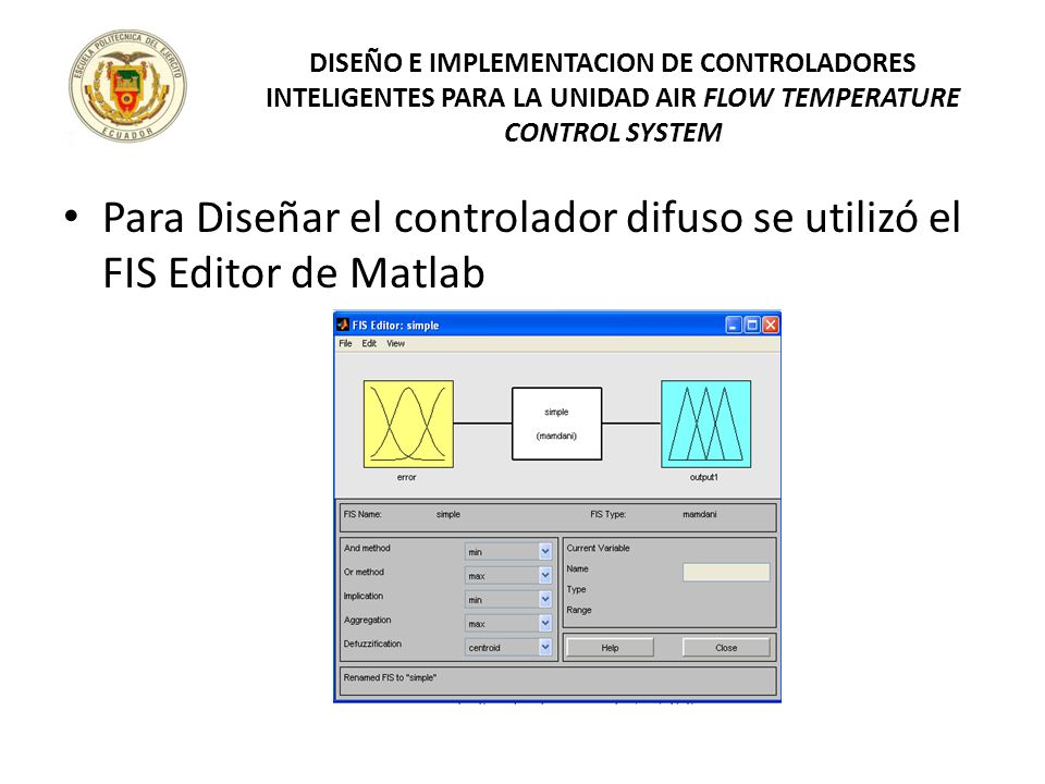 Para Diseñar el controlador difuso se utilizó el FIS Editor de Matlab